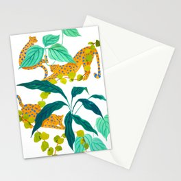 Leopards Playing among Plants Stationery Cards