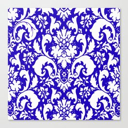 Paisley Damask Blue and White Canvas Print
