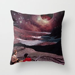 Red moon night Throw Pillow