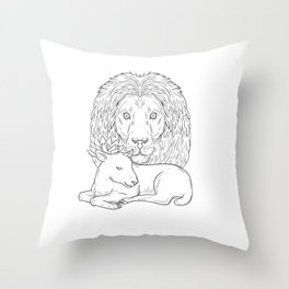 Lion Watching Over Sleeping Lamb Drawing Throw Pillow