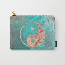 Yin Yang - Rose Turquoise Marble Carry-All Pouch