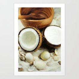 Seashell and coconut Art Print