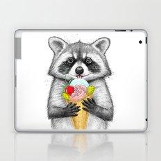 raccoon with ice cream Laptop & iPad Skin