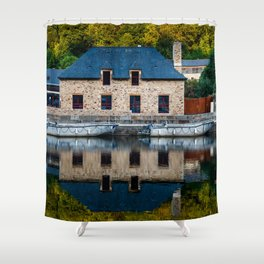 The harbour of Dinan in Brittany Shower Curtain