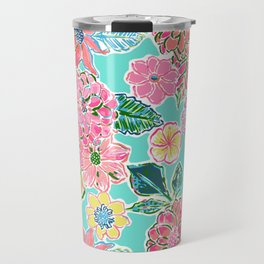 Fun Bright Whimsical Preppy Floral Print / Pattern Travel Mug