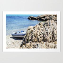 Seacoast in summer of the island of Porquerolles Art Print