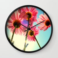 mandie manzano Wall Clocks featuring dancing in the sun by RichCaspian