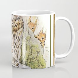 Squirrels tease a sleeping Owl Coffee Mug