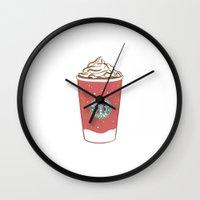 starbucks Wall Clocks featuring Christmas Design Starbucks  by swiftstore