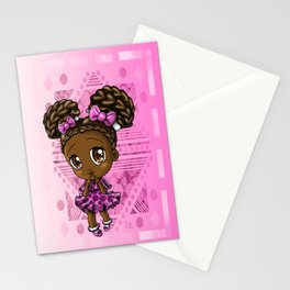 Cute African American Girl Stationery Cards