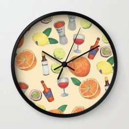cocktail recipe pattern _ zombie Wall Clock