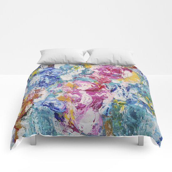 Abstract floral painting Comforters