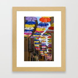 Colorful umbrella street in Italy Framed Art Print