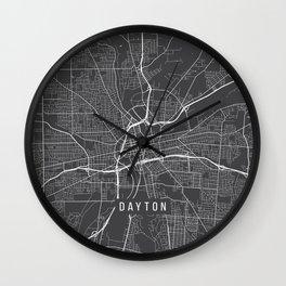 Dayton Map, USA - Gray Wall Clock