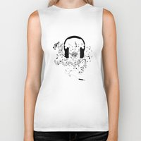 music notes Biker Tanks featuring Headphones and Music Notes by JuyoDesign