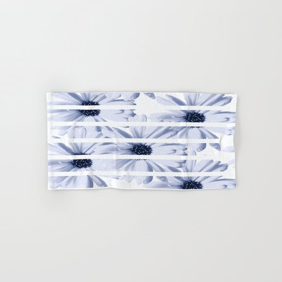 Light Blue Daisies with White Stripes Hand & Bath Towel