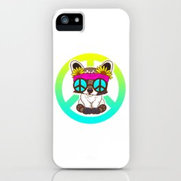 Cute Hippie Puppy Peace Sign design For 60s and Dog Lover iPhone Case