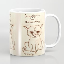 Keep Grumpy and Do Nothing - Cat drawning Coffee Mug