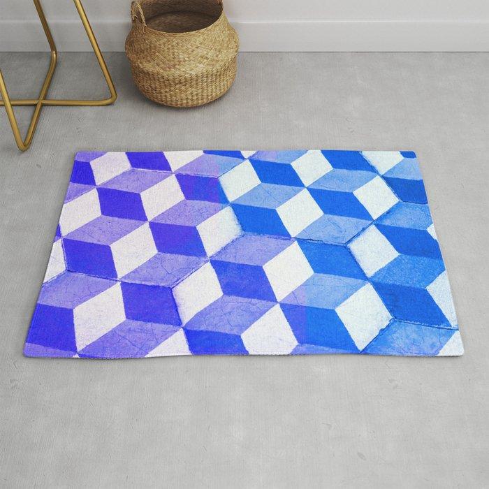 Blue Antic Tile Pattern Rug