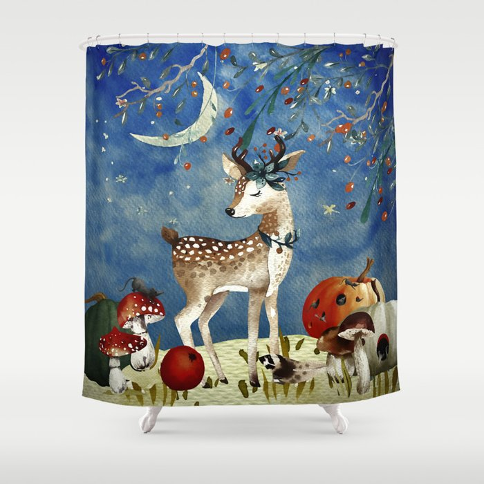 Autumn Woodland Friends Deer Forest Illustration Shower Curtain