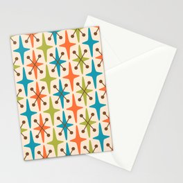 Mid Century Modern Abstract Star Pattern 441 Orange Brown Turquoise Chartreuse Stationery Cards