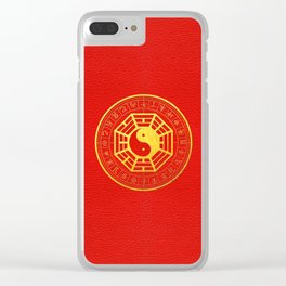 Golden Bagua Feng Shui Symbol on Faux Leather Clear iPhone Case