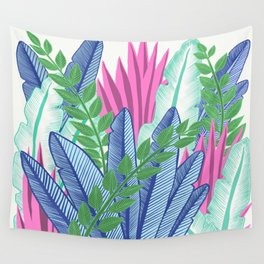 Modern Tropical Plants - Cool tones Wall Tapestry
