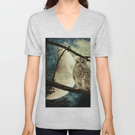 Barred Owl Bird Night Moon Blue Tans Country Art A137 Unisex V-Neck