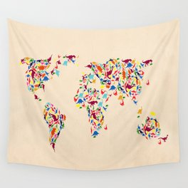 map dinosaur Wall Tapestry