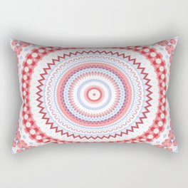 Soft Coral Blue Mandala Design Rectangular Pillow