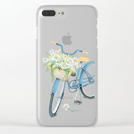 Vintage Blue Bicycle with Camomile Flowers Clear iPhone Case