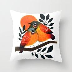 Fluffy Birds Throw Pillow