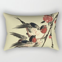 Moon Swallows and Peach Blossoms Rectangular Pillow