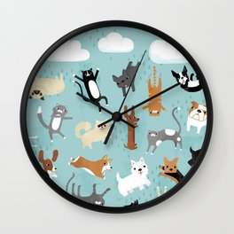 Raining Cats & Dogs Wall Clock