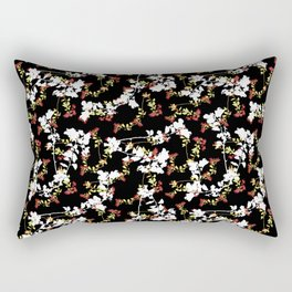 Dark Chinoiserie Floral Collage Pattern Rectangular Pillow