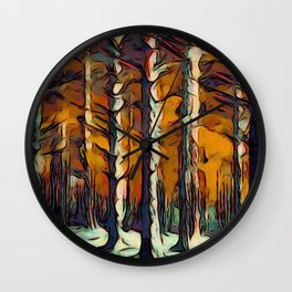 The Woods are Dark and Deep Wall Clock