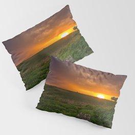 Autumn Sunset - Flowers and Tree on Oklahoma Plains Pillow Sham