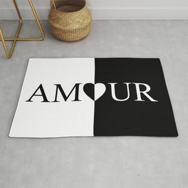 AMOUR LOVE Black And White Design Rug