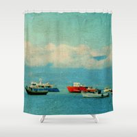 boats Shower Curtains featuring Sea Boats by Lia Bernini