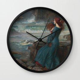 John William Waterhouse - Miranda Wall Clock