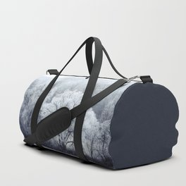 Foggy Winter Landscape with snow covered Trees Duffle Bag