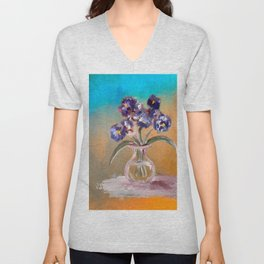 Purple And Blue Pansies In Glass Vase Unisex V-Neck