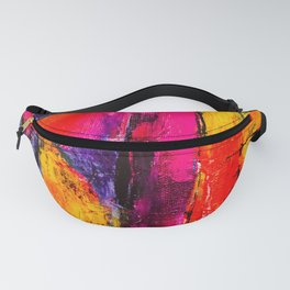 Dream in Colours: a colorful abstract piece in purple, pinks, yellow by KKingCreations Fanny Pack