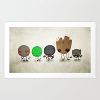 guardians of the galaxy Art Prints featuring Guardians by Mitch Made