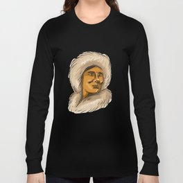 Eskimo Inuit Hooded Parka Watercolor Long Sleeve T-shirt