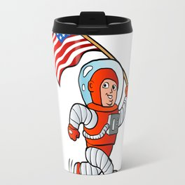Astronaut with american flag Travel Mug