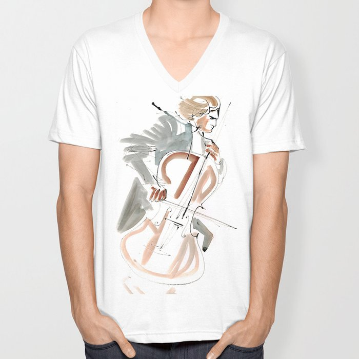Cello Player Musician Expressive Drawing Unisex V-Neck