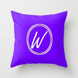 Monogram - Letter W on Indigo Violet Background Throw Pillow
