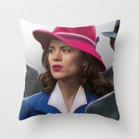 agent carter Throw Pillows featuring Agent Carter by DandyBee