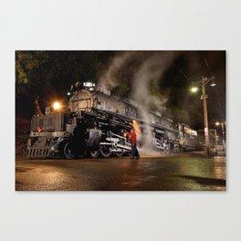 Inspecting With Lantern. Light Streak. UP 4014. Union Pacific. Steam Train. Big Boy. © J. Montague. Canvas Print